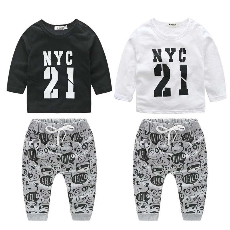 Letter Printed Sport Suit Autumn Long Sleeve T shirt+Pants Tracksuits Newborn Baby Boy Clothes Set