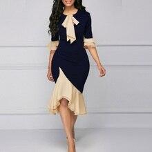 купить New Autumn Women's Dress Vestidos Fashion Sexy V-neck Tie Knot Lace Stitching Waist Dress Celebrity Party Dress Dresses Vestido онлайн