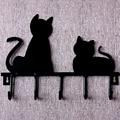 Cabides para roupas parede gato preto casaco chave gancho da veste, Porta parede decoração de casa enforcamentos ganchos 5 ganchos