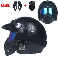 VOSS High Quality Leather Harley 3 4 Chopper Bike Open Face Vintage Motorcycle Helmet With Goggle