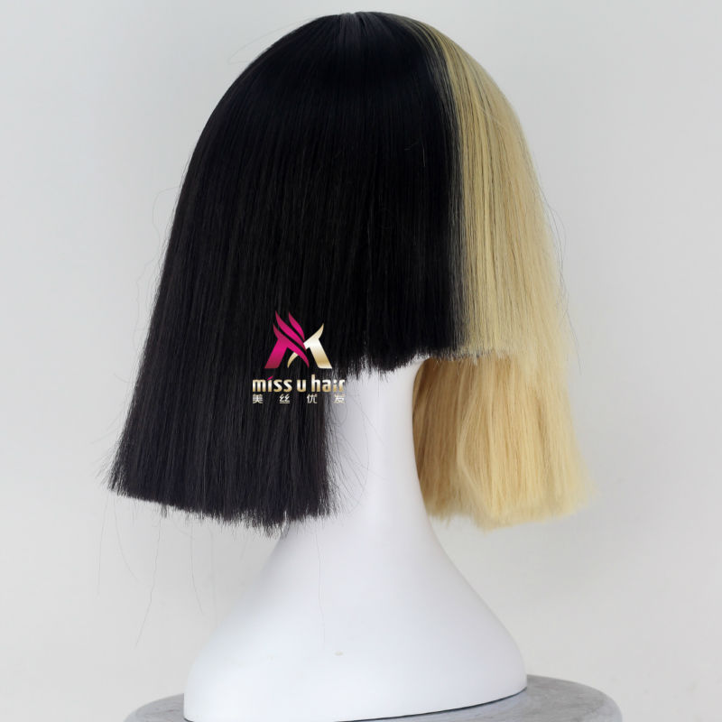 Synthetic None-lacewigs Miss U Hair High Temperature Fiber Half Black Half Blonde White Hair Medium Kinky Straight Cosplay Costume Party Wig For Women Hair Extensions & Wigs