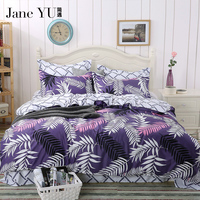 JaneYU 30 colors washed color bedding set 3d home textile bedding coverlet quilt cover bed sheet pillowcases home beding sets