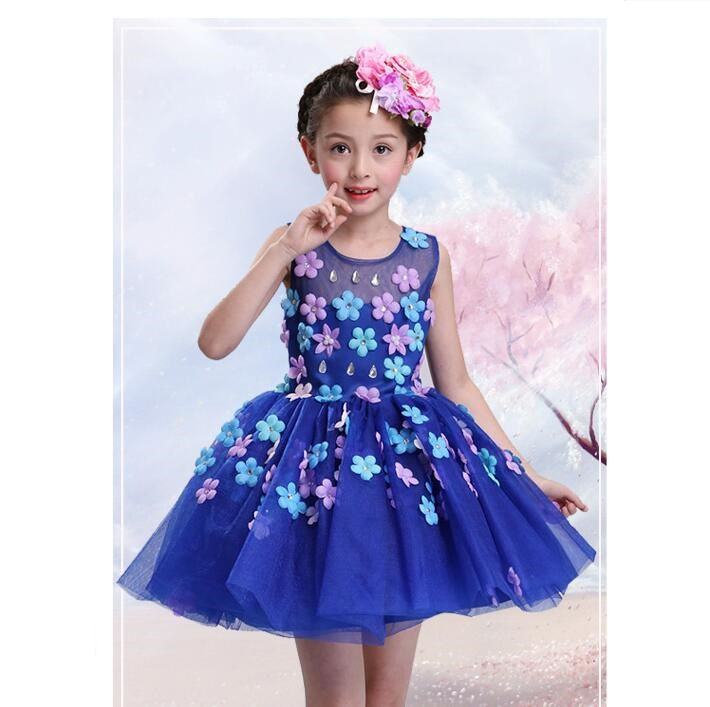 New summer baby girl Clothes print flower girl dress for wedding girls party dress with bow dress 12