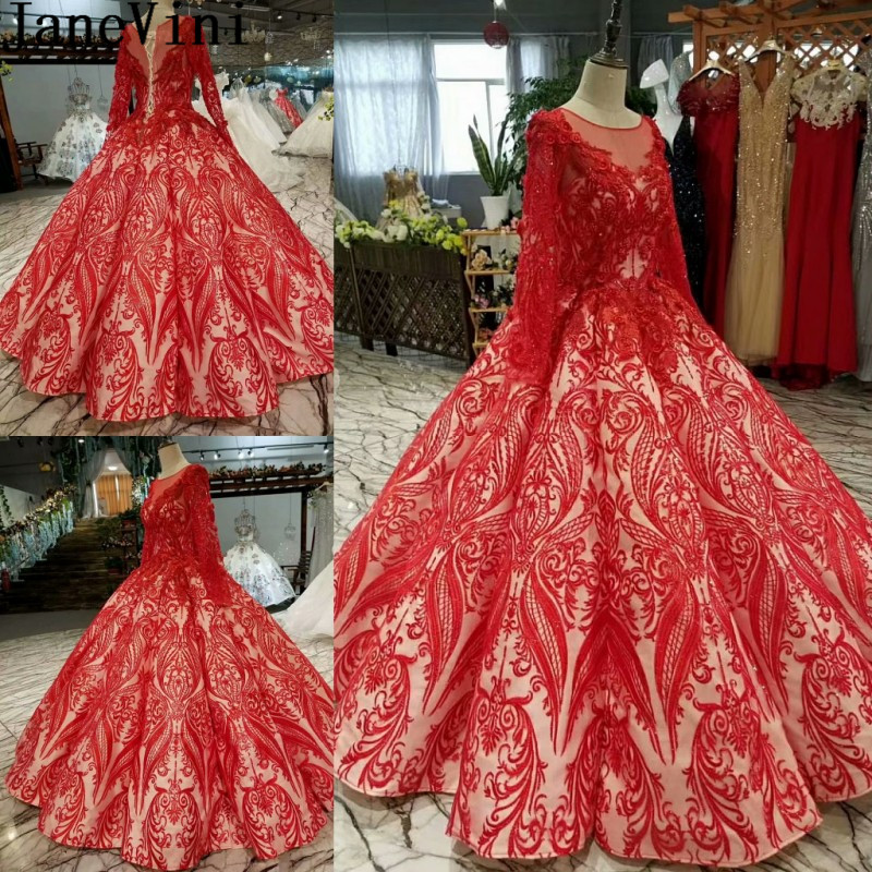 JaneVini Arabic Long Sleeve Red Prom Dress Bling Sequins Flowers Bridesmaid Dress Party Wedding Bridal Lace Beaded Ball Gowns