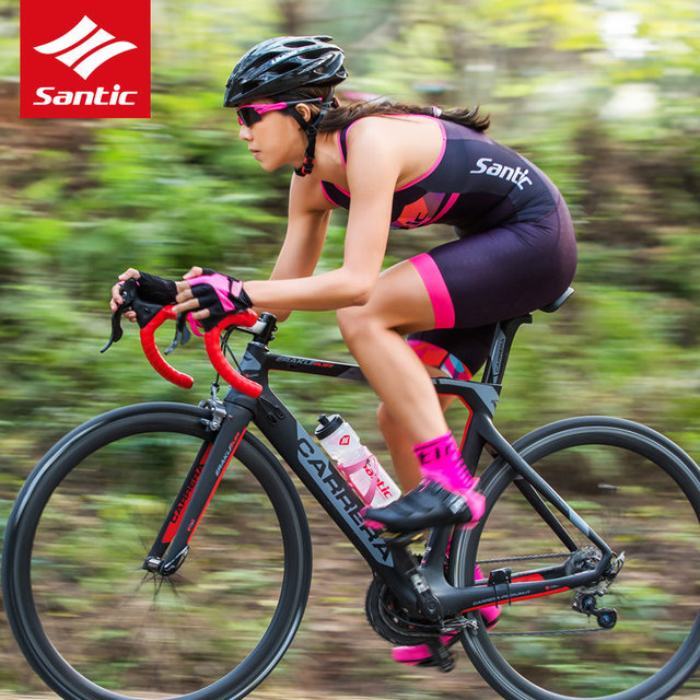 Santic Women Cycling Jersey 2019 Pro Team Sleeveless Triathlon Cycling Skinsuit One-piece Racing Downhill Bike Bicycle Jersey