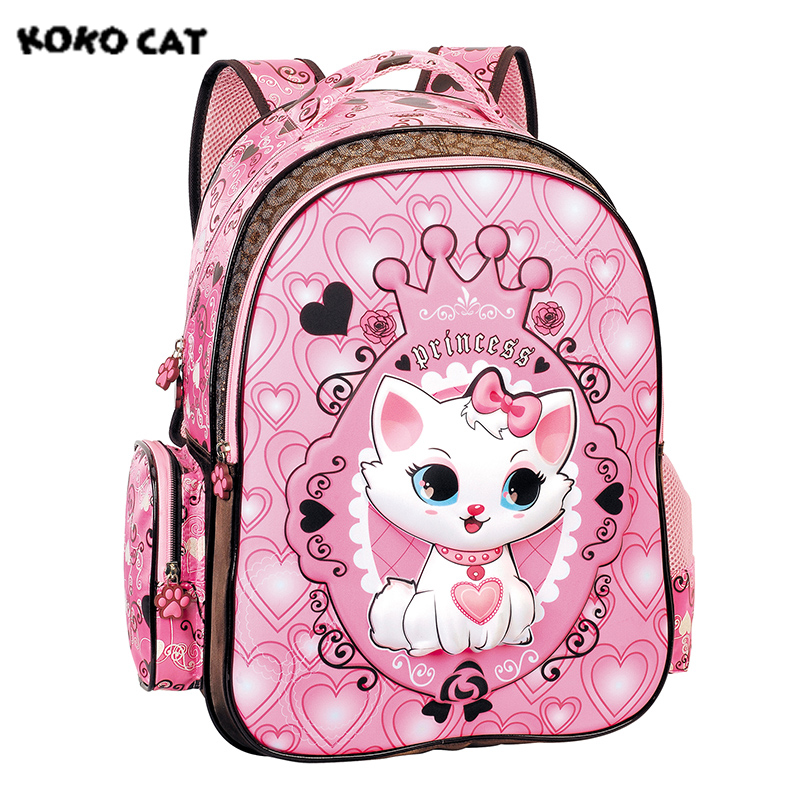 2017 Children School Backpack Cute Cat Kids Bags Pink Bookbag Female School Backpacks for Teens Girls Student Schoolbag