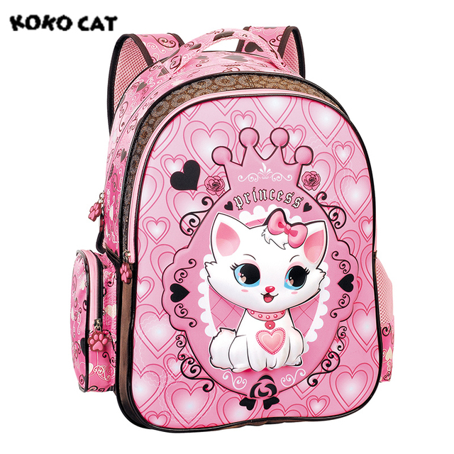 2017 Children School Backpack Cute Cat Kids Bags Pink Bookbag ...