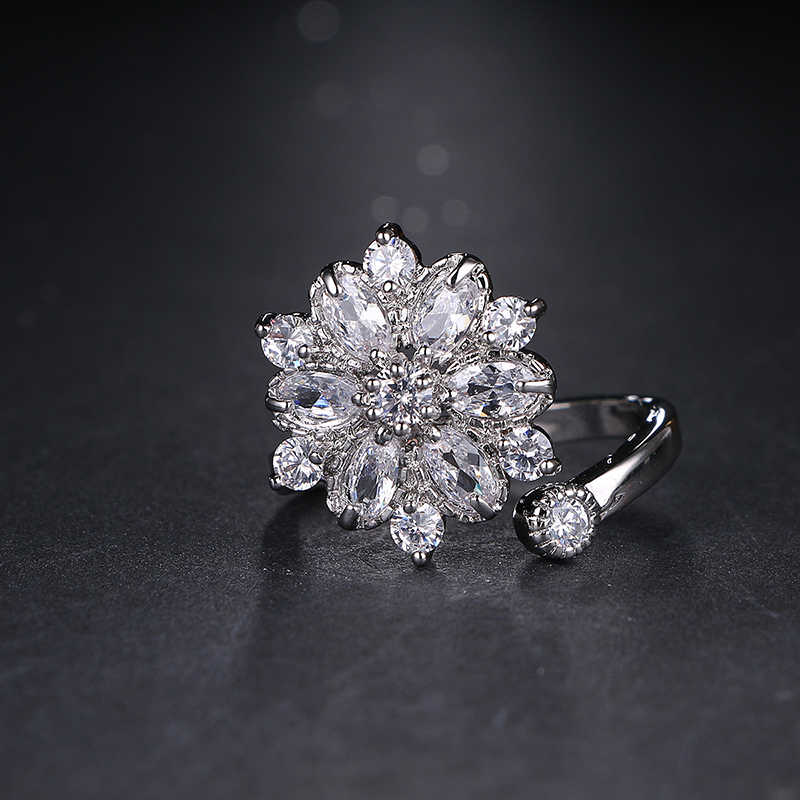 Emmaya แฟชั่นแหวนเปิด Luxury White Gold สี Zircon แหวนนิ้วมือผู้หญิงเครื่องประดับงานแต่งงาน