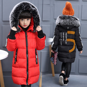 Image 2 - 2019 Girls Russian Winter Long Thickened Warm Cotton Outerwear & Coats Children Hooded Windbreakers Kids Embroidered Jackets  30