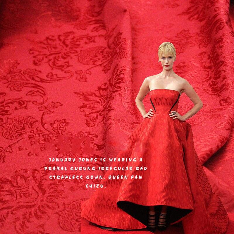Мода, большой жаккардовые ткани красный Китайский красный весной и летом мода ретро тотем