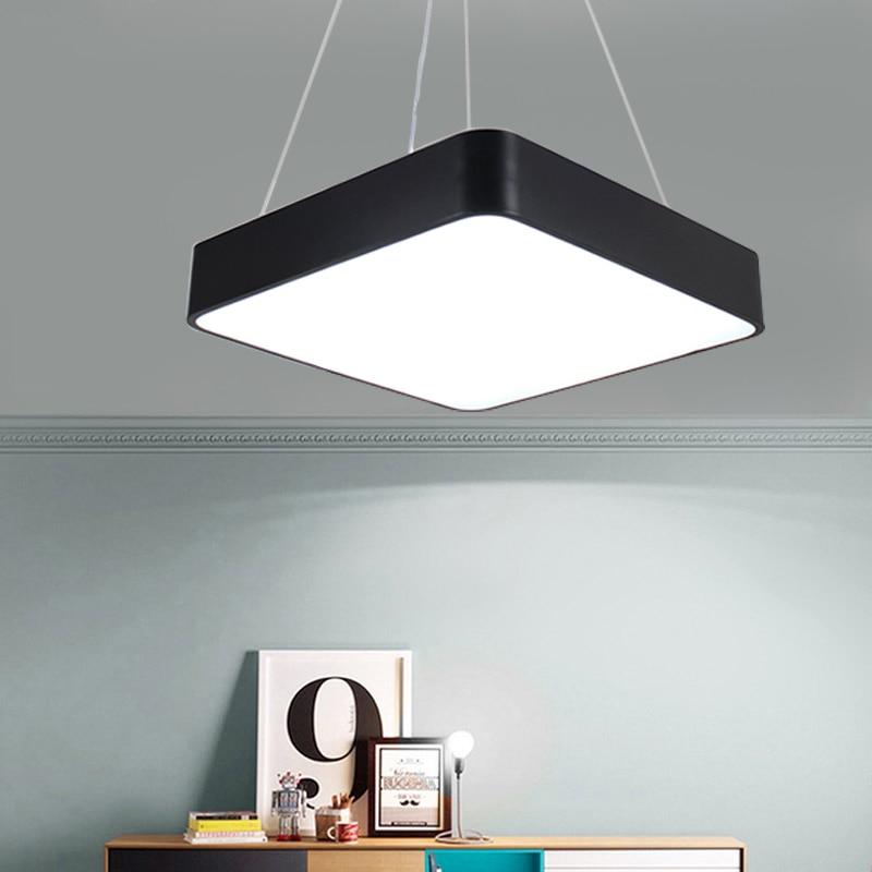 Moderne Kantoor LED Hanglampen 24 W 36 W 48 W AC85 265V Vierkante ultra dunne aluminium hanglamp Zwart /wit - 4