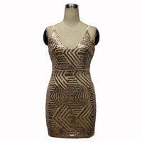 Europe And America Women S Deep V Collar Sexy Package Hip Bodycon Sequin Dresses Female KLY1829