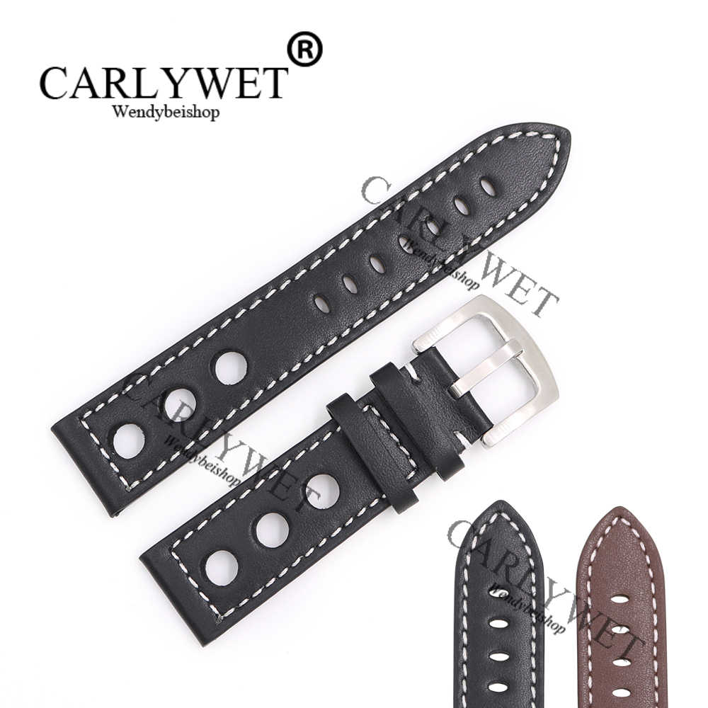 CARLYWET 22 мм натуральной телячьей кожи ручной работы черный коричневый с белыми стежками наручные часы Группа ремень застежка для Rolex omega IWC
