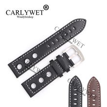 CARLYWET 22mm Real Calf Leather Handmade Black Brown with White Stitches Wrist Watch Band Strap Belt Clasp For Rolex Omega IWC carlywet 28mm real calf leather handmade black white orange red blue stitches wrist watch band strap belt clasp