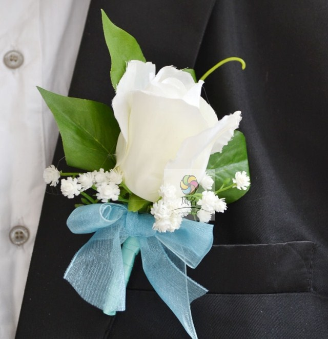 1 Pcs Lot Hand Made White Rose Flower Corsage For Groom