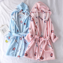 Flannel Robe for Kids Winter Thick Warm Bathrobe Nighty Cute Strawberry Sleepwear Boys Blue Girls Pink Kimono Robes