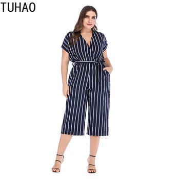 TUHAO 2019 Wome Rompers Short Sleeve V-neck Striped Pants Overalls Large Size 4XL 3XL Leisure Couplet Pants Jumpsuits LZ227