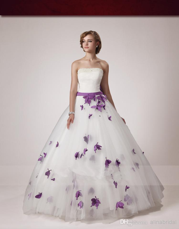 New Style 2017 Wedding Dresses White Strapless Ball Gown Dress Bow Ribbon Beaded Pearls Purple Erfly Bridal Gowns In From Weddings