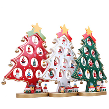 DIY Shope Window Christmas Decoration,Kawaii Wooden Christmas Tree Christmas Ornaments,Creative Toys Xmas Gifts Table Decoration