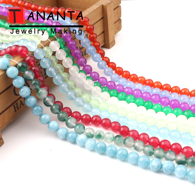 Wholesale 6 8 10 12 mm Round Natural A+ Chalcedony Jades Stone Beads For DIY Bracelet Necklace Jewelry Making Accessories 15inch