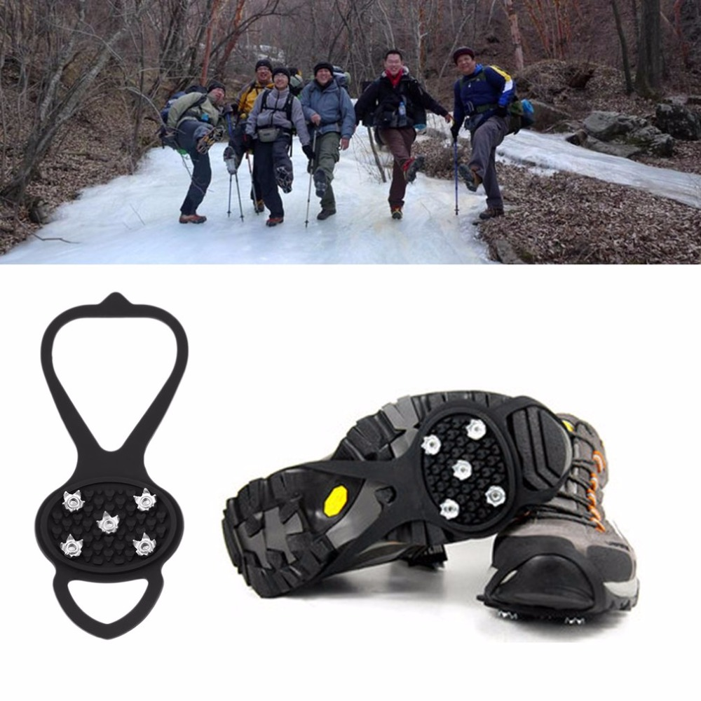 A Pair Cleat Ice Gripper Anti Slip Snow Walk Shoes Spike Grip Crampon Shoe Tight Stretch Camping Climbing Hiking Walking Rubber