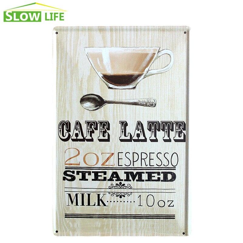 Cafe Latte Espresso Coffee Metal Tin