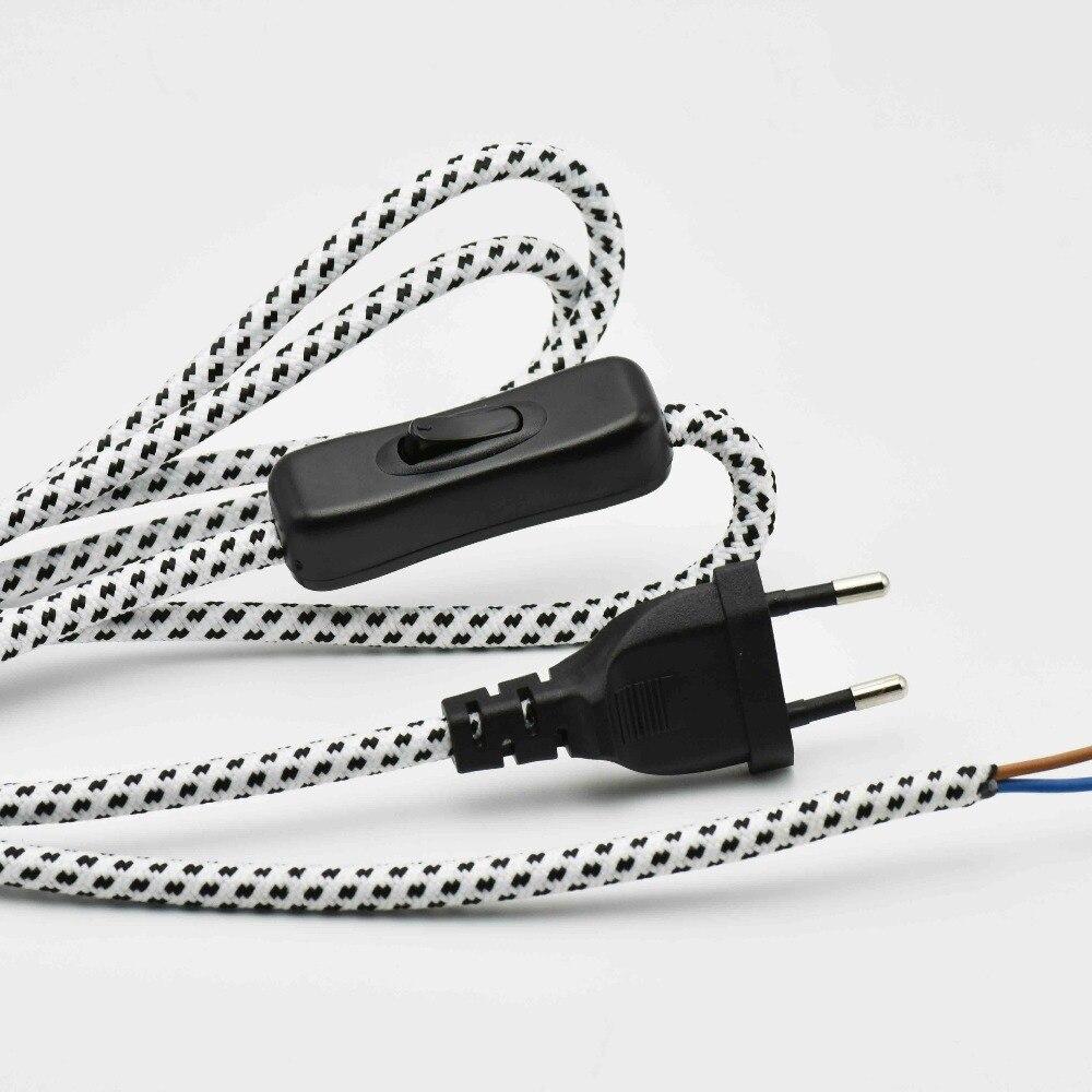 2*0.75mm2 1,8 м Европа штекер лампы Переключатель плетеный провод VDE Сертифицированный 304 переключатель лампы шнур питания с переключателем круг...
