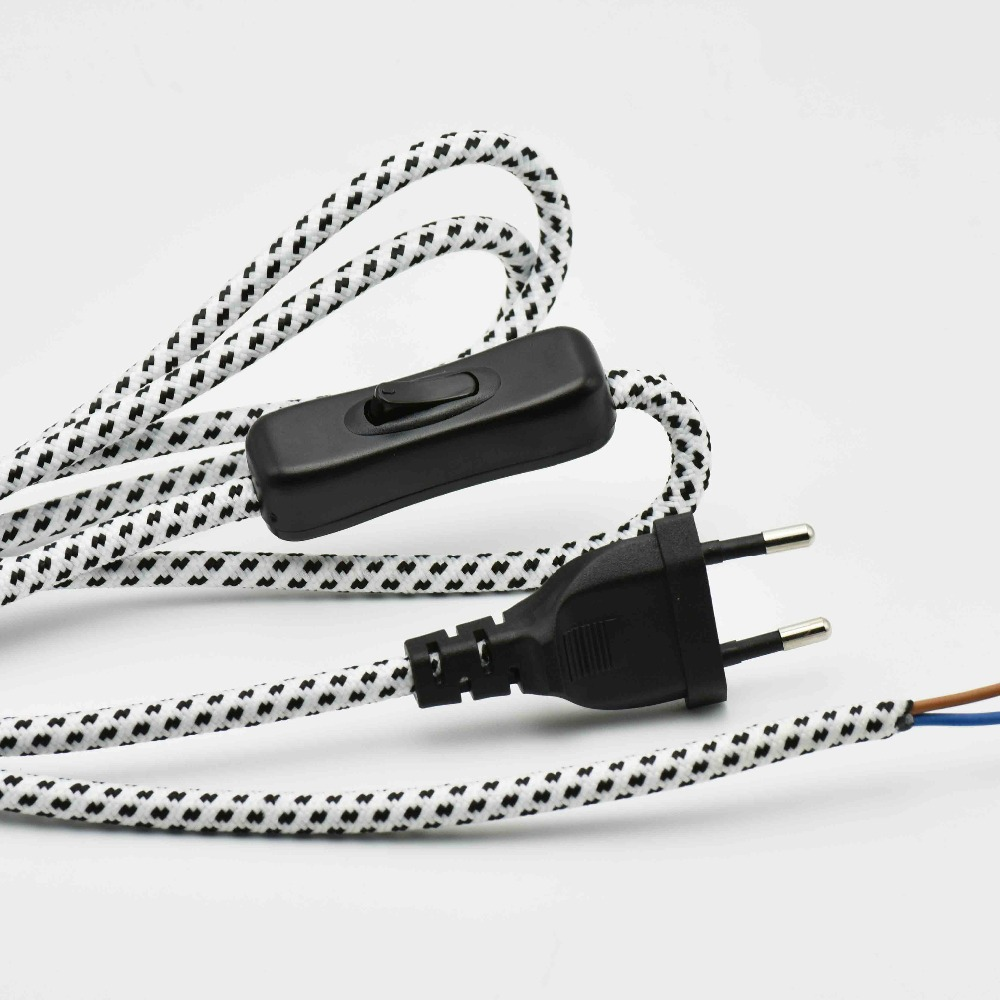 все цены на 2*0.75mm2 1.8M Europe Plug Lamp Switch Braided Wire VDE Certified 304 Switch Lamp Power Cord with Switch Round Fabric Cable 1PC онлайн