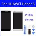 Display lcd original para huawei honor 6 substituição da tela do painel de vidro digitador da tela de toque de 5 polegada freetools