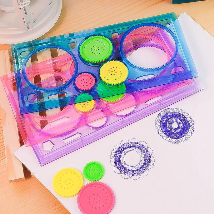 1pack/lot New Kids' Puzzle Colorful Drawing Ruler Set Drawing-tool Spirograph Ruler Students' Zakka DIY Tools Stationery