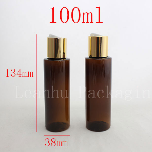 100ml X50 brown colored empty PET travel bottle with gold aluminum disc top cap press family