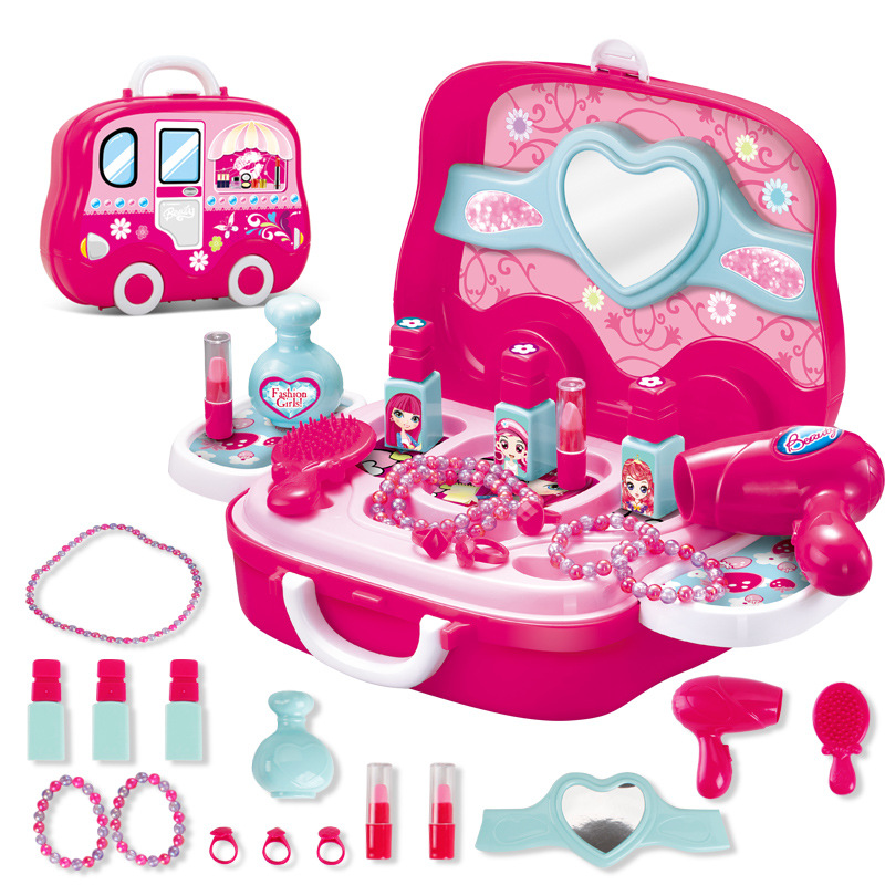 High-quality Children Pretend & Play Makeup Toy Simulation Pink Dresser and Make-up Travel Box for Girl Cosplay Dressing Table beiens furniture doll 19 pcs children kids baby girl s cute lovely toy fashion makeup chair make up table set dresser