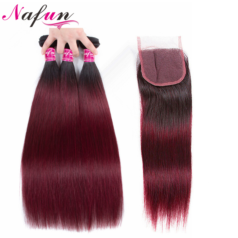 NAFUN Human Hair Straight Ombre 3 Bundles With 4 4 Closure T1B 99J Brazilian Hair Non