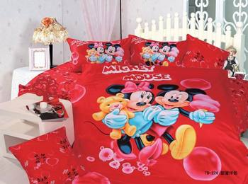 mickey minnie mouse bedding set for kids bedroom decor 100% cotton bedclothes twin duvet cover boy home textile bedspread girls