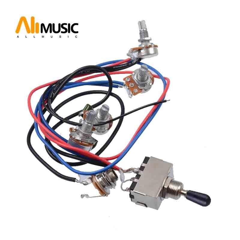 Emergency Kits Tooyful 1 Set Electric Guitar Wiring Harness Prewired Kit 3 Way Toggle Switch 1 Volume 1 Tone 500k Pot Jack