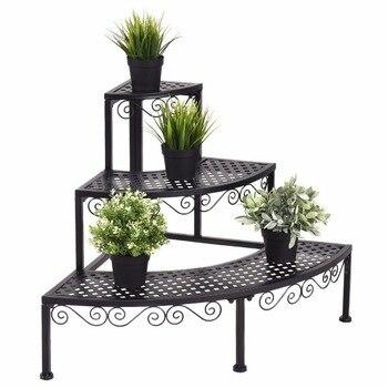 Bahçe 3 Katmanlı Köşe Çiçek Metal Bitki Standı Kapalı Açık Pot Tencere Raf Raf Ekran Merdiven portatif merdiven Ev Mobilyaları OP3340
