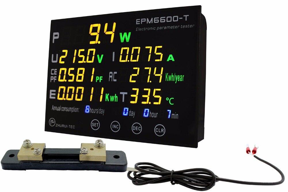 EPM6600-T externe shunt 50A/10kw/multicouleur numérique AC compteur d'énergie avec thermomètre/kwh compteur