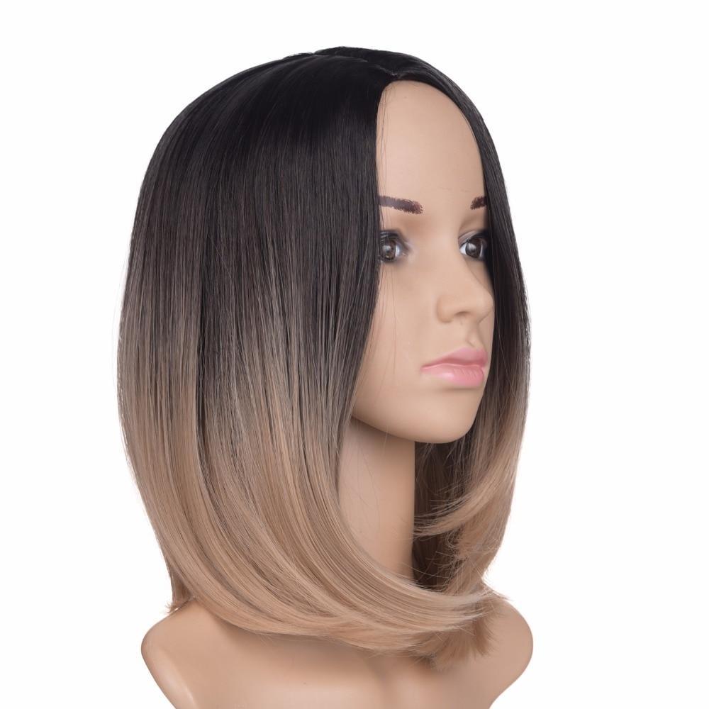 Feilimei Black Short Straight Wig 160g African American