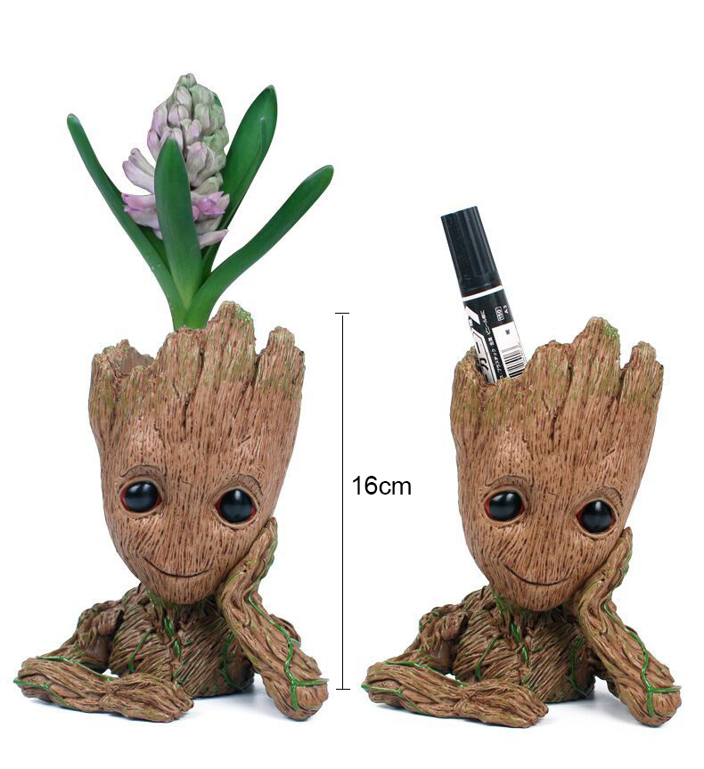 Drop shipping 16cm Baby Flower pot Action Figure Doll Phoneholder Guardians of The Galaxy 2 Model pen pot Kids Toy