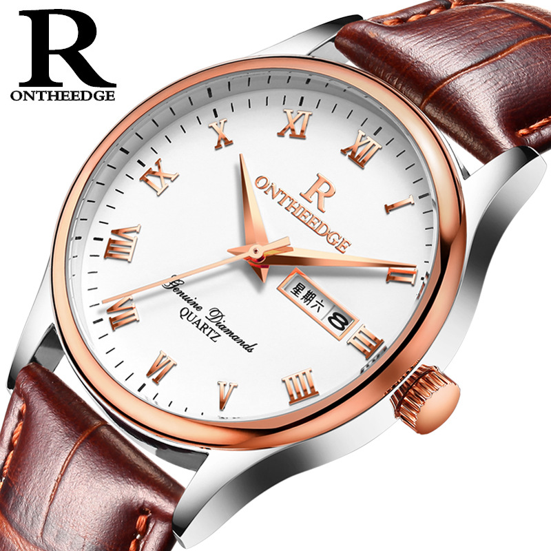 Reloj Hombre Men Fashion Business Quartz Watch Luxury Double Calendar Genuine Leather Watches Classic Mens Waterproof Wristwatch reloj hombre wishdoit quartz watch men
