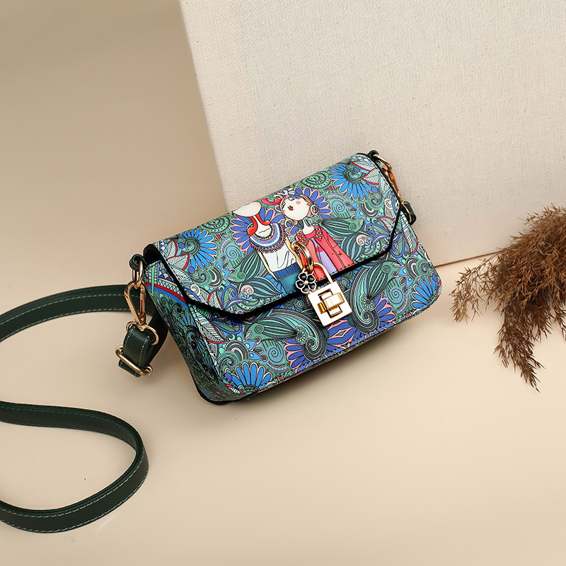 2018 new printed handbags Korean version of the forest series of womens shoulder bag