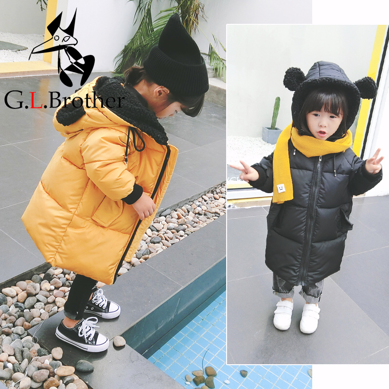 0-6 Y Kids Winter Coat Down Cotton Outwear Coat Hooded Toddler Boys Girls Down Jacket Long Thick Warm Children Snowsuit Z148 2018 new warm hiking down jacket warm long sleeve women winter jacket thick cotton coat outwear 100% polyester soft fabric down