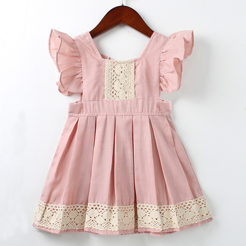 Children Party Dress 2018 New Fashion Style Girls Sleeveless Lace Pink Color Clothes Dress Kids Casual Knee-Length Baby Dress jioromy big girls dress 2017 summer fashion flower lace knee high ball gown sleeveless baby children clothes infant party dress