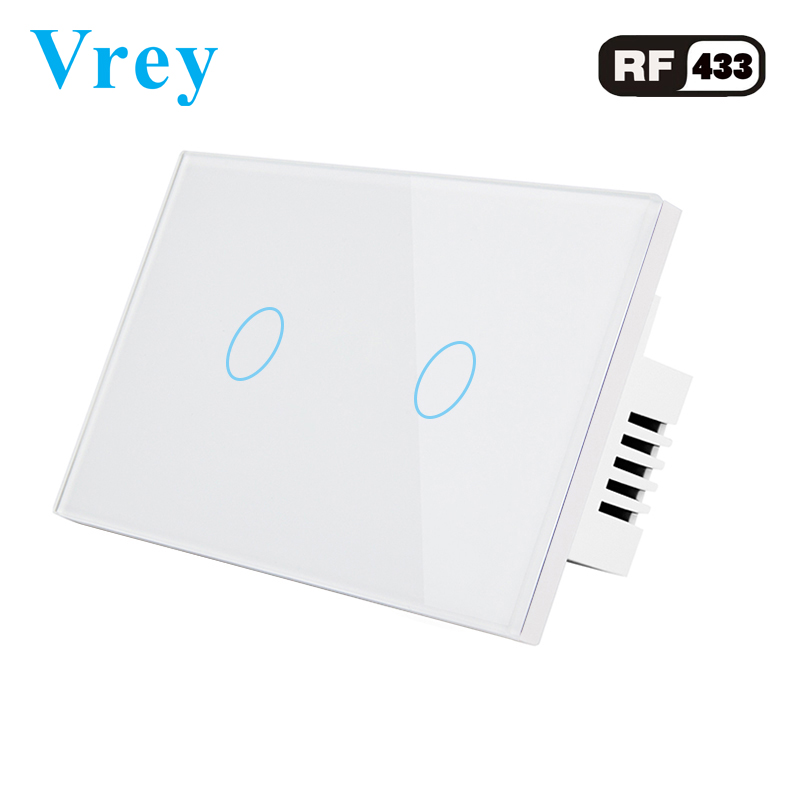 Vrey US Standard touch Switch 2 Gang,Support <font><b>RF433</b></font> Remote <font><b>Control</b></font> Smart Wall Switch, Wireless remote <font><b>control</b></font> touch light switch image