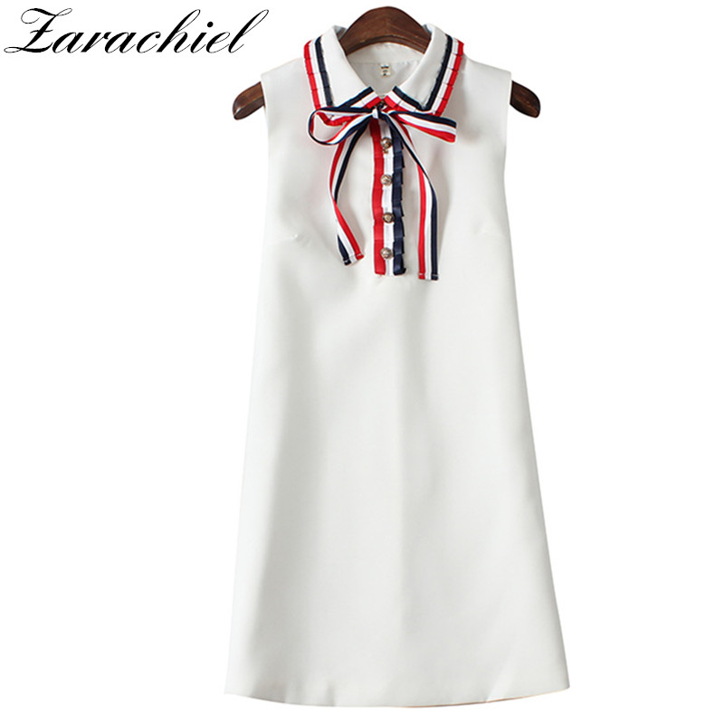 Runway Designer Sleeveless Bowknot White Summer Dress 2019 Vestidos Women Butterfly Peter Pan Collar Loose A Line Tank Dress