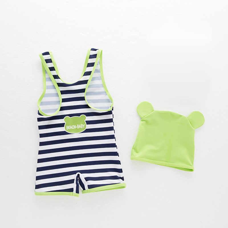 Купальный костюм для маленьких мальчиков и девочек, Цельный купальник в полоску с рисунком лягушки + шапочка, детский летний пляжный купальный костюм одежда для плавания для мальчиков