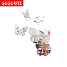 Decorate 3D cats buttlefly art wall mirror sticker decoration Decals mural painting Removable Decor Wallpaper LF-1366