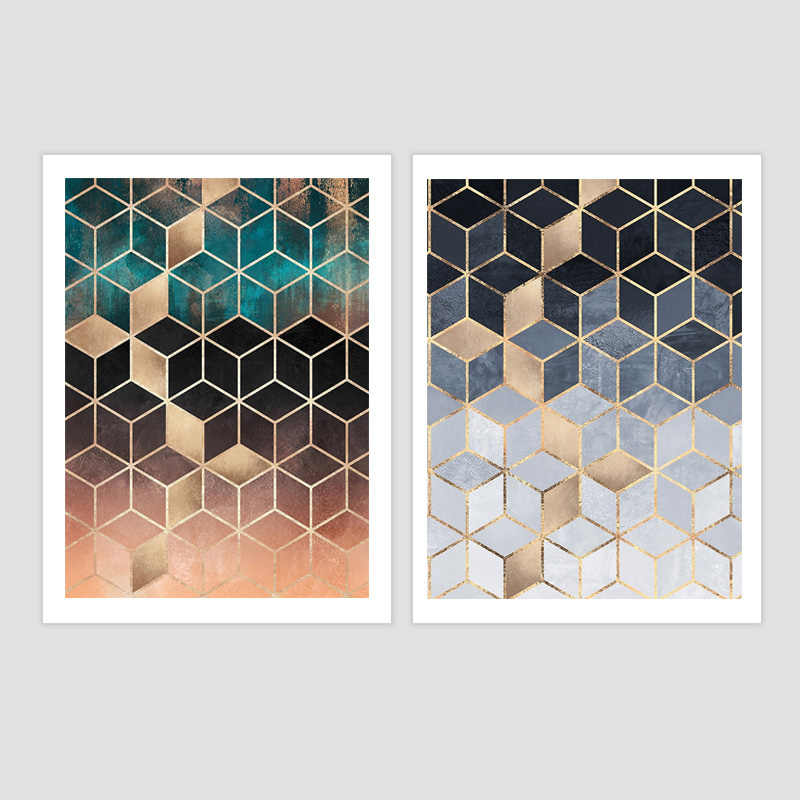 Nordic Poster Art Print Wall Pictures Abstract Decor For Living Room Painting Soft Blue Gradient Cubes Wall Art Canvas Painting