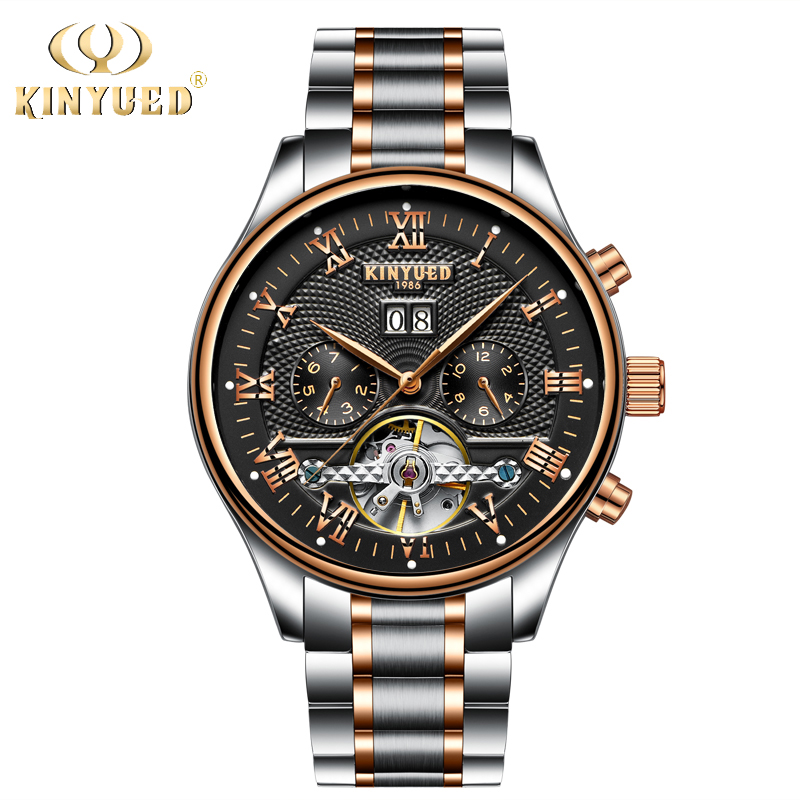 KINYUED Luxury Brand Watch Men Skeleton Automatic Stempunk Flying Tourbillon Watches Self