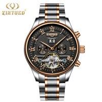 KINYUED Luxury Brand Watch Men Skeleton Automatic Stempunk Flying Tourbillon Watches Self Winding Mechanical Man Clock
